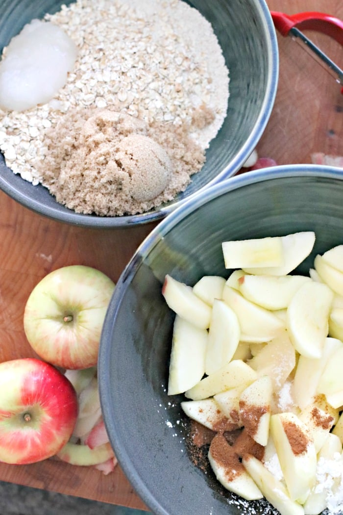 Ingredients for Vegan Apple Crumble filling and topping