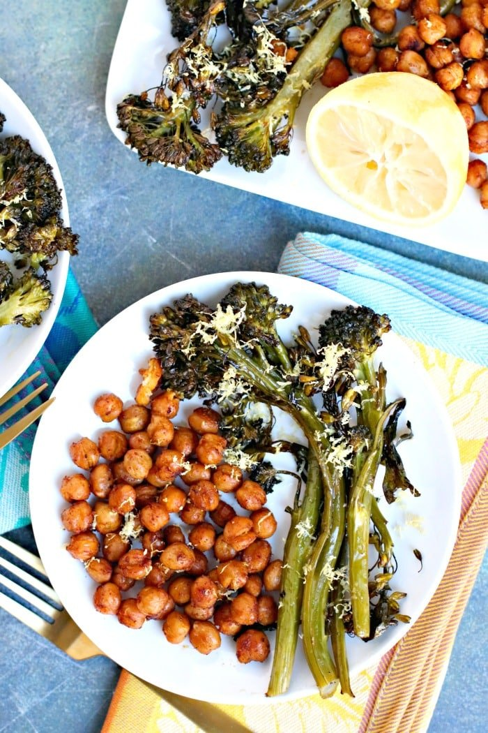 Overhead of plate of roasted broccolini and chickpeas