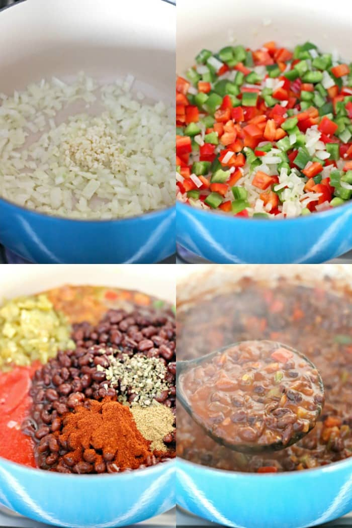 Step by step process of making Easy Black Bean Chili: Sauteing onion and garlic, sauteing bell peppers, adding in the tomato sauce, black beans, spices, and chilies, and the finished chili in a ladle