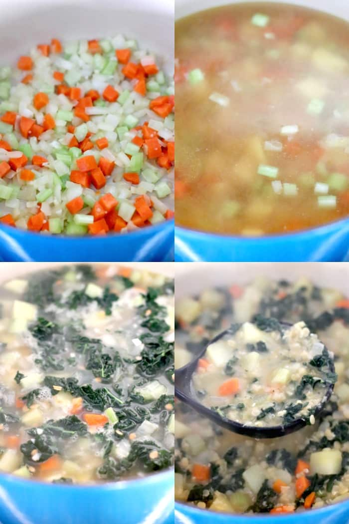 Collage of process shots showing how to cool Red Lentil Potato Soup