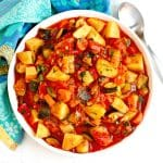 Bowl of zucchini and potato stew