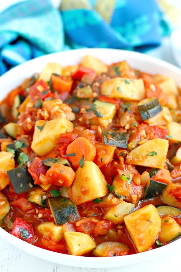 Close up of Zucchini Stew with Potatoes