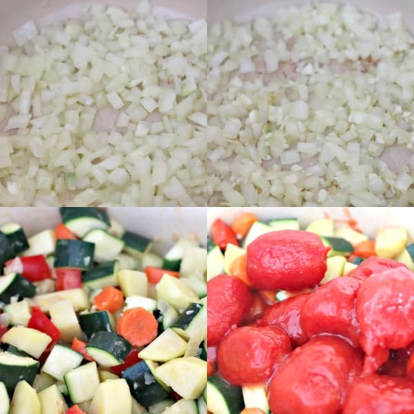 Collage of process shots showing vegetables being sauteed in a dutch oven
