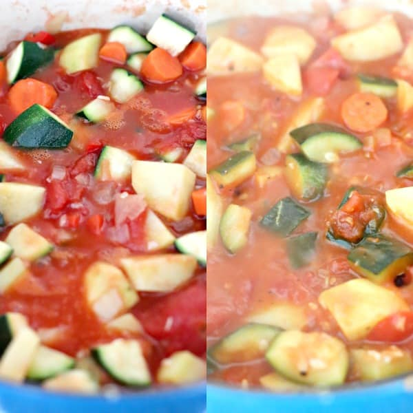 Stew simmering before and after collage