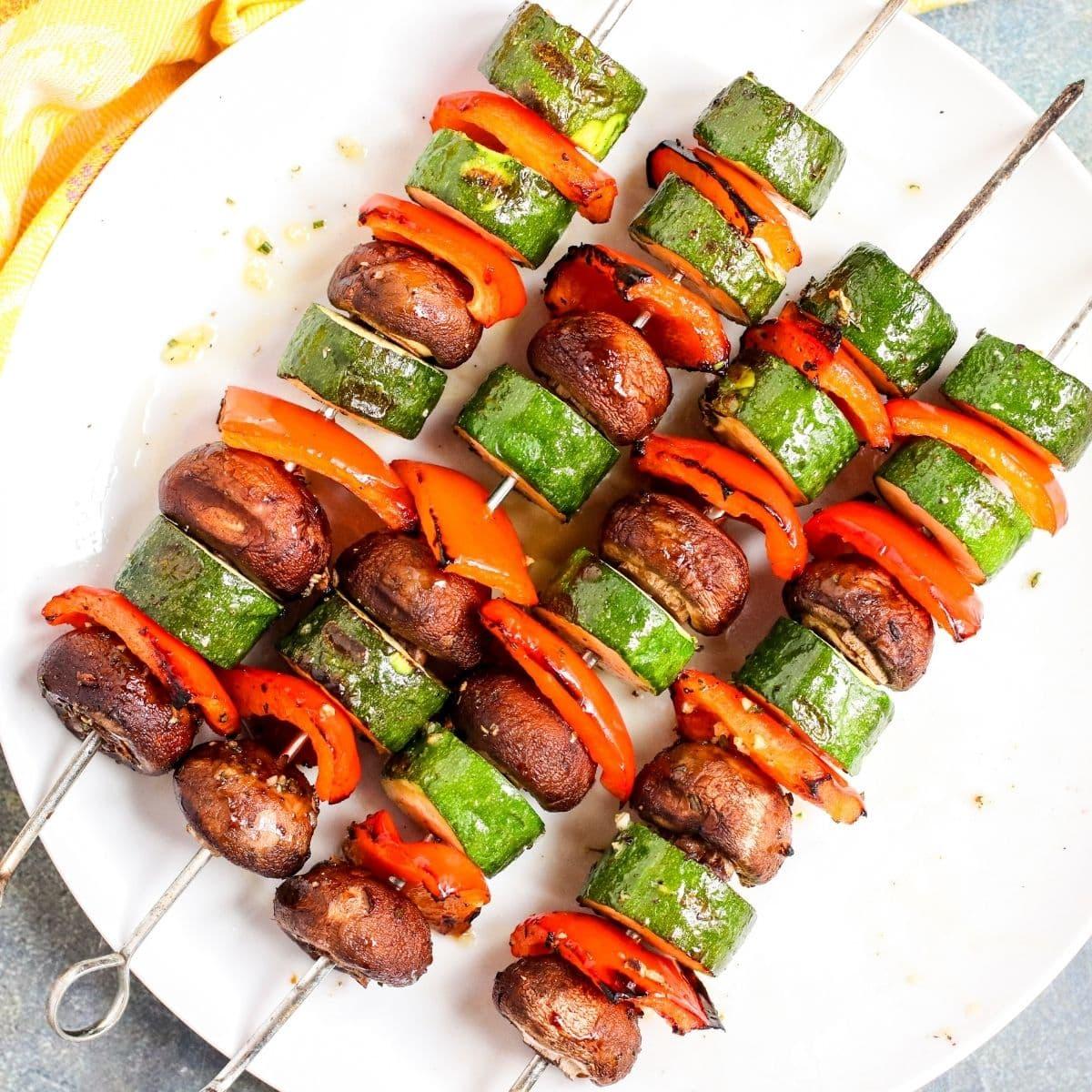 Serving platter of grilled vegetable skewers