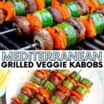 Vegetable skewers on a barbecue grill