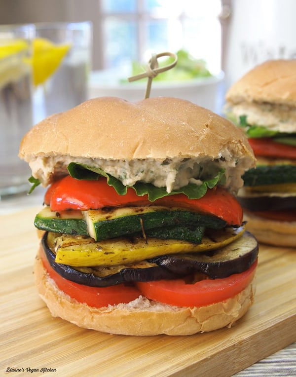 Grilled Ratatouille Sandwiches on a cutting board