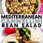 Collage of images showing bowl of cannellini bean salad and pita pocket sandwiches with spinach and the salad inside