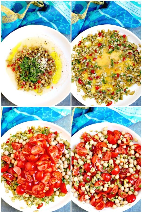 Process shots showing how to make green olive salad dressing