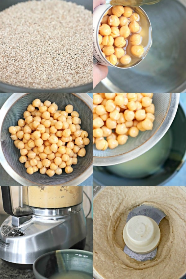 Process shots showing how to make chickpea dip without tahini