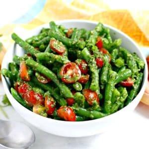 Bowl of green bean and tomato salad