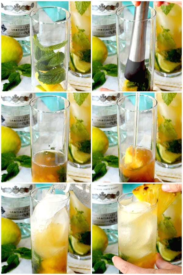 Process shots showing how to make a mojito