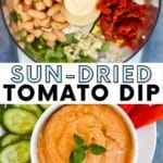 Collage of photos showing ingredients in a food processor and the finished dip in a bowl served with raw vegetables