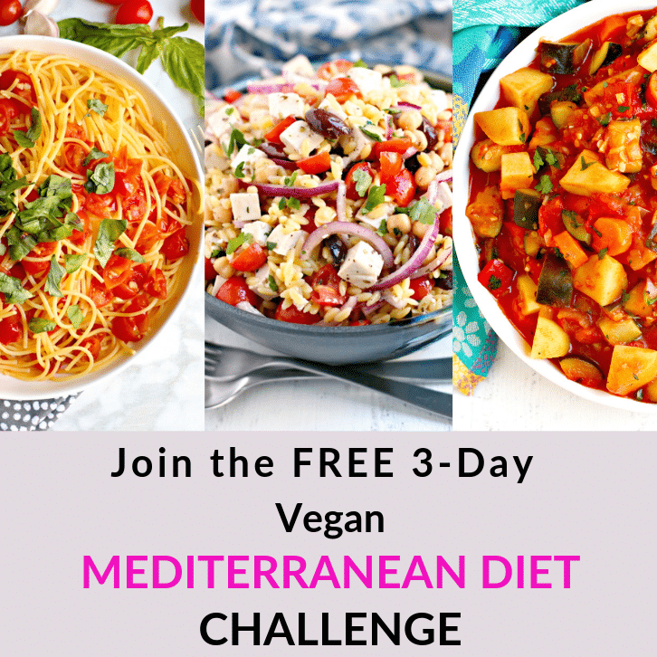 Collage of meals that are part of the free 3-day vegan Mediterranean diet challenge