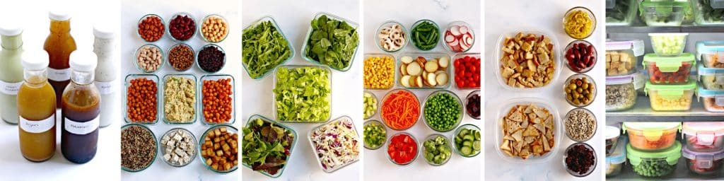 Dressings, Proteins, Greens, Vegetables, Toppings, and containers in the refrigerator