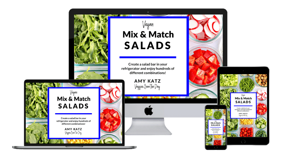 Vegan Mix & Match Salads ebook on computer, tablet, and iphone screens