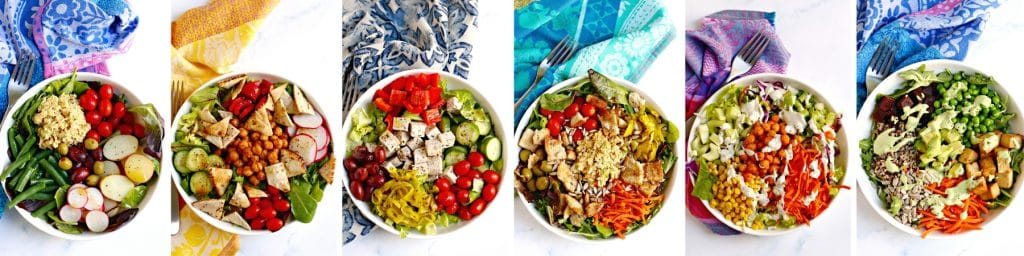 Finished salads: Nicoise, Fattoush, Greek, Vegan Tuna, Buffalo Chickpea, Vegan Cobb