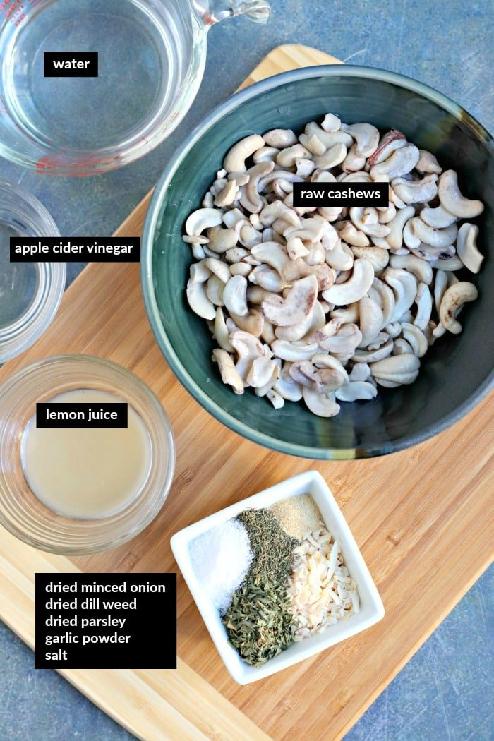 Ingredients for making Vegan French Onion Dip