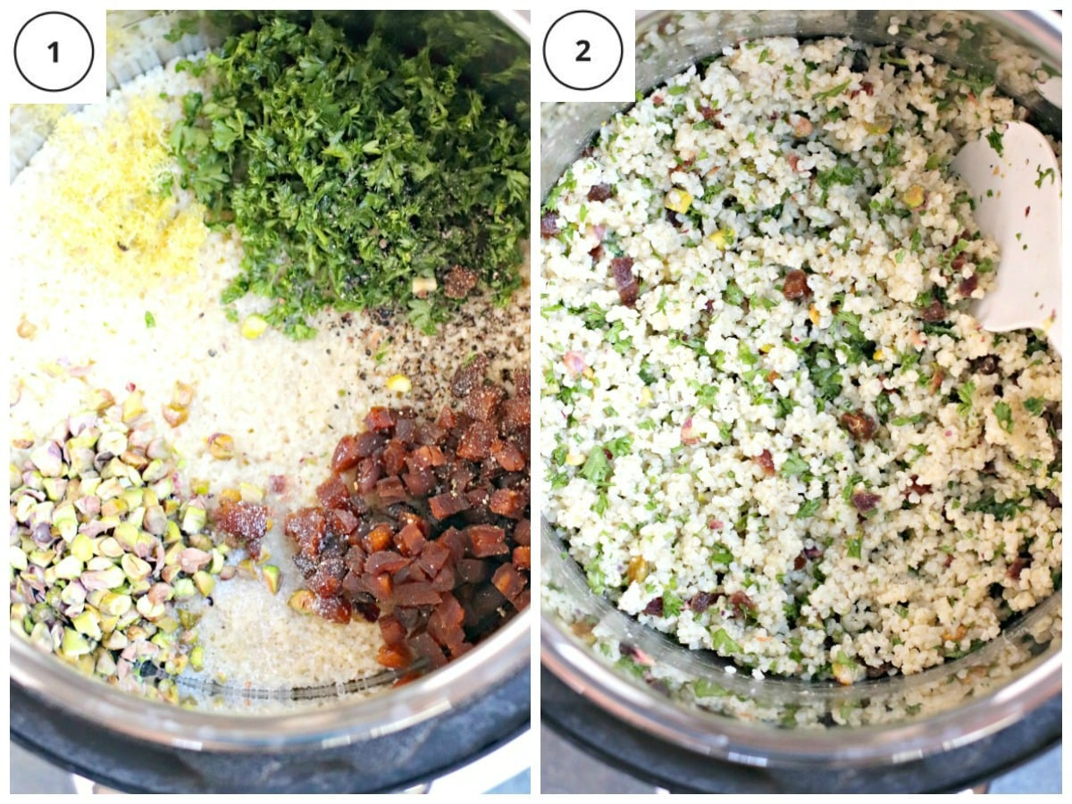 Process shots showing how to make the millet recipe in an Instant Pot electric pressure cooker