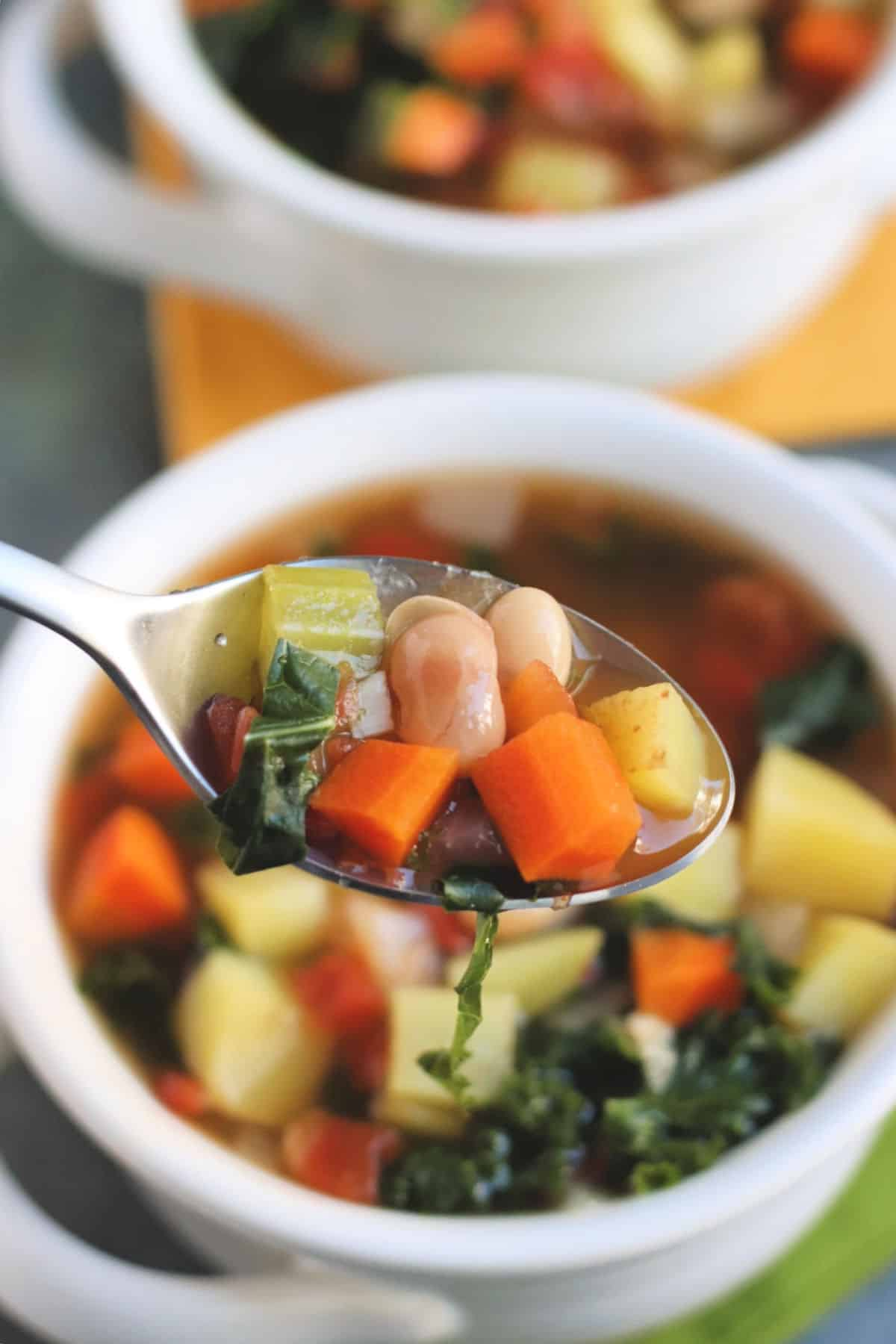 Closeup of Vegan Vegetable Soup on a spoon