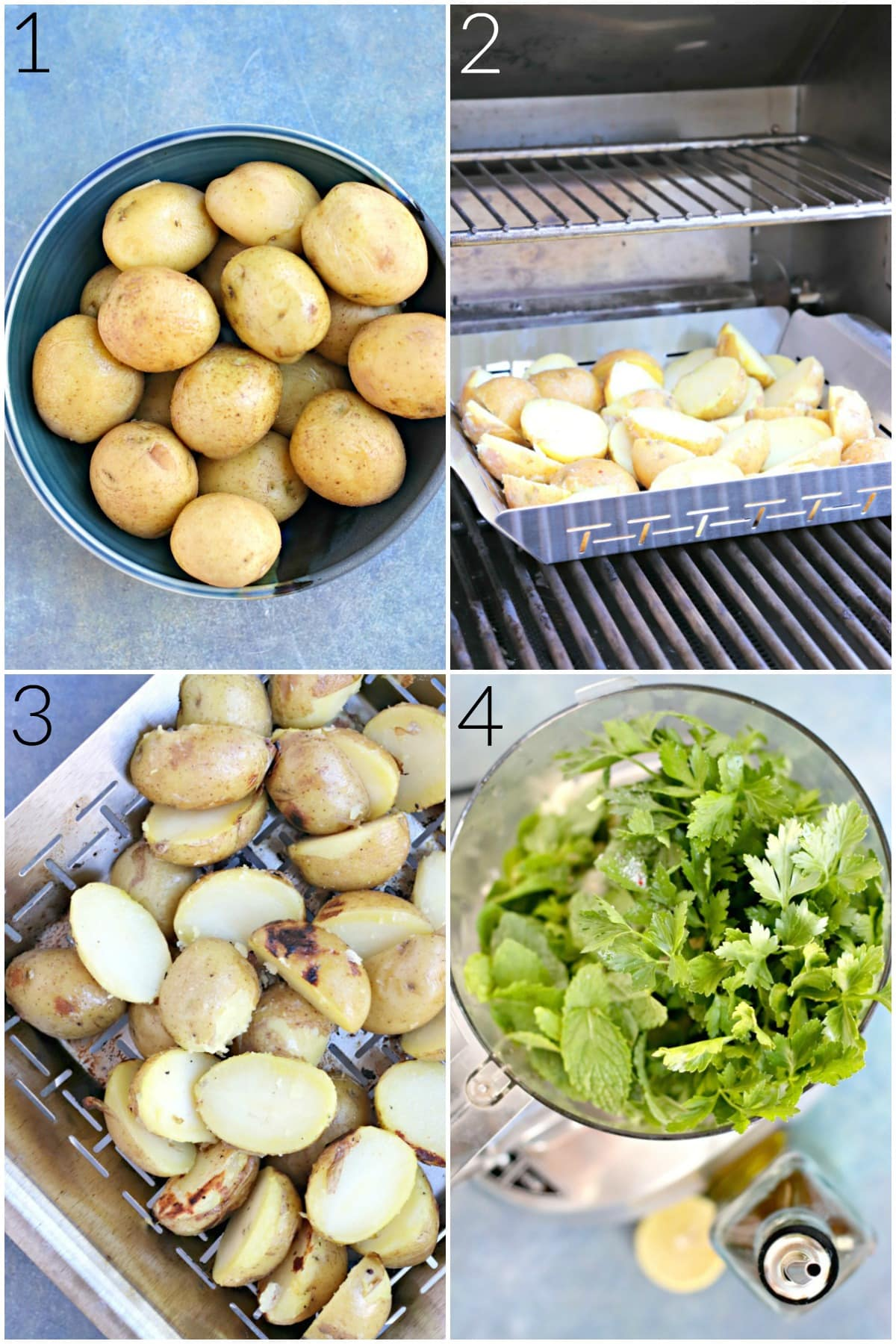 Process shots showing how to prepare the potatoes and the sauce