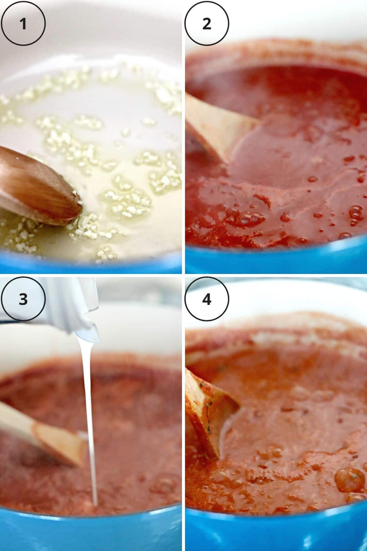 Collage of four process shots showing how to make this recipe