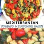 Sauteed zucchini and tomatoes garnished with fresh basil