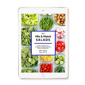 Tablet showing cover of Vegan Mix & Match Salads