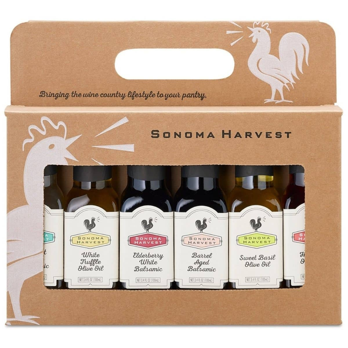 Gift pack of flavored balsamic vinegars and olive oils.