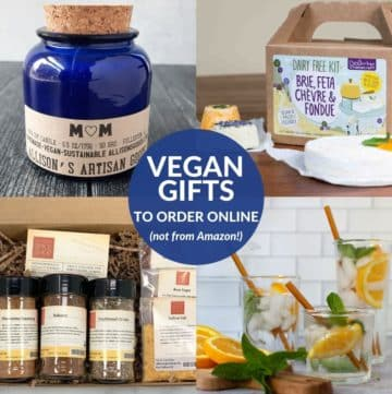 Vegan gifts including candle, cheese making kit, glass straws, and spices