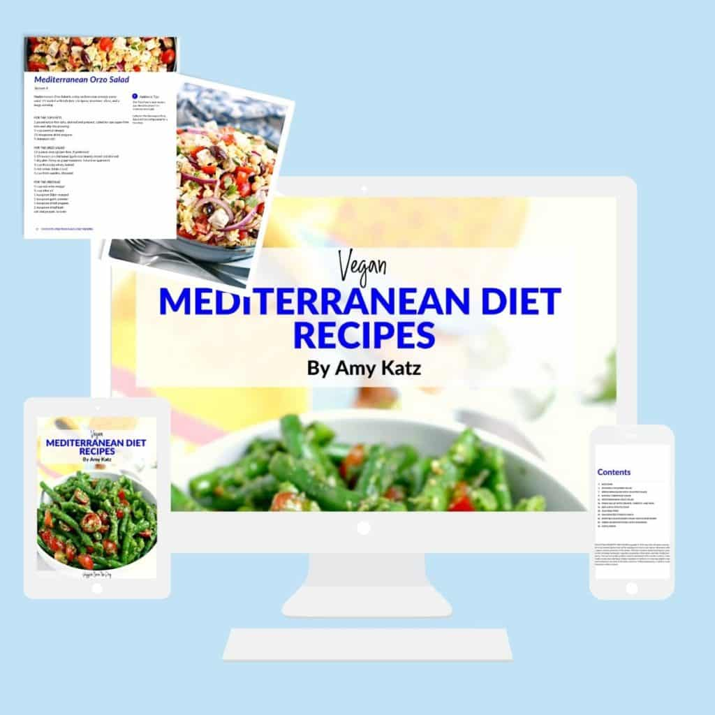 Vegan Mediterranean Diet Recipes eBook shown on a computer, tablet, and smartphone