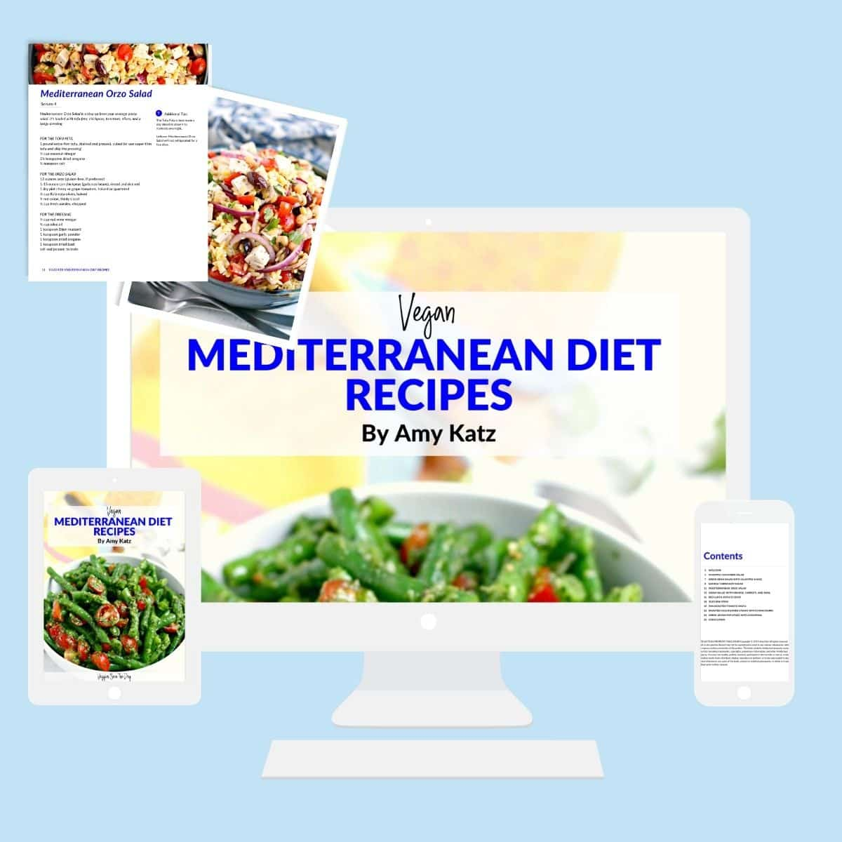 Images on computer, tablet, and smart phone from free eBook Vegan Mediterranean Diet Recipes