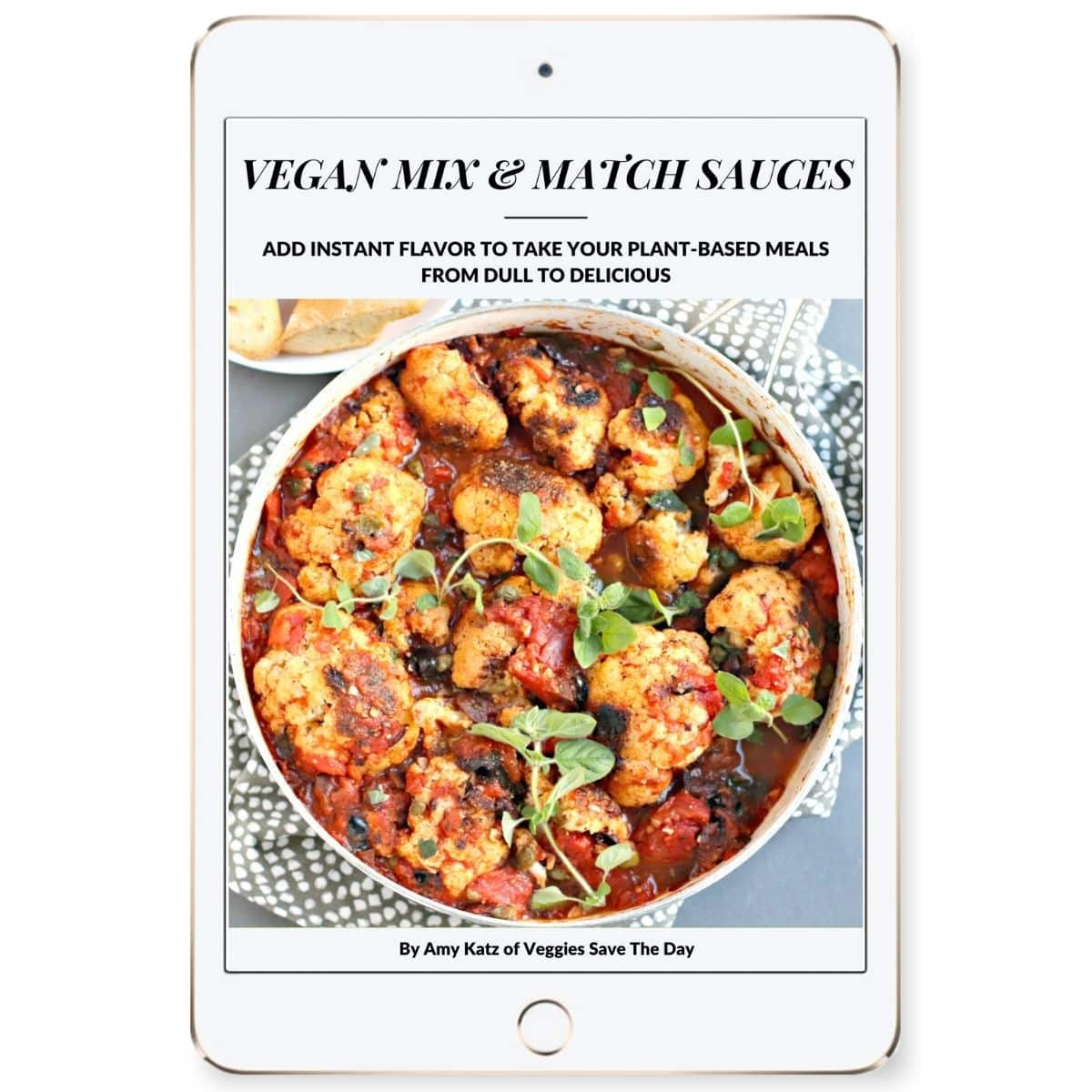 Vegan Mix & Match Sauces eBook cover on a tablet