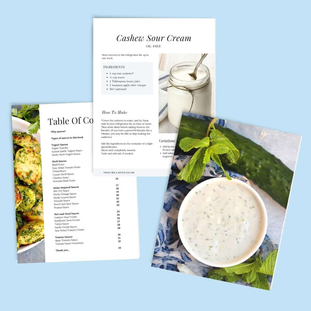 Sample pages from the eBook including the table of contents and a recipe