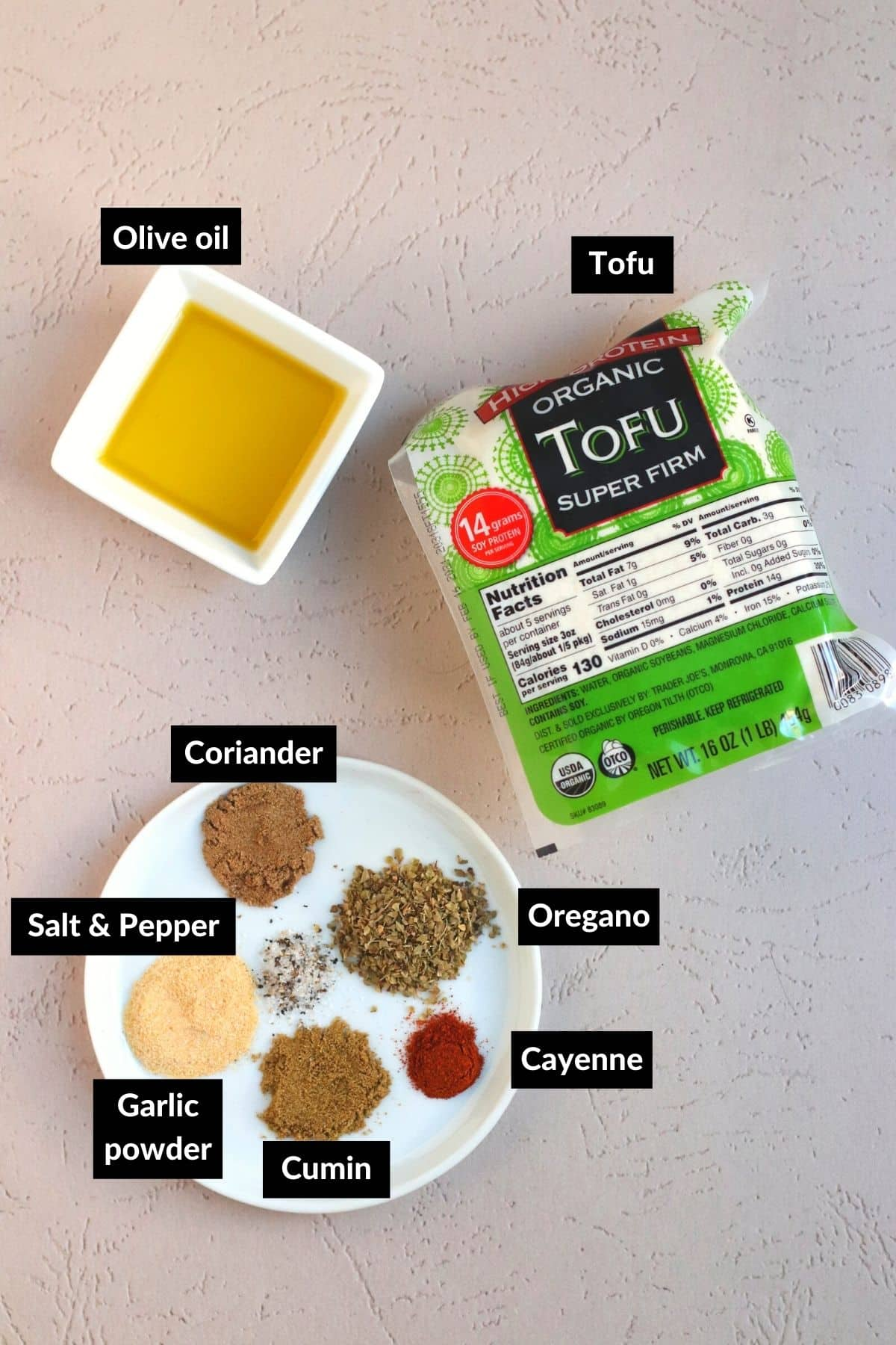Ingredients for making the tofu filling