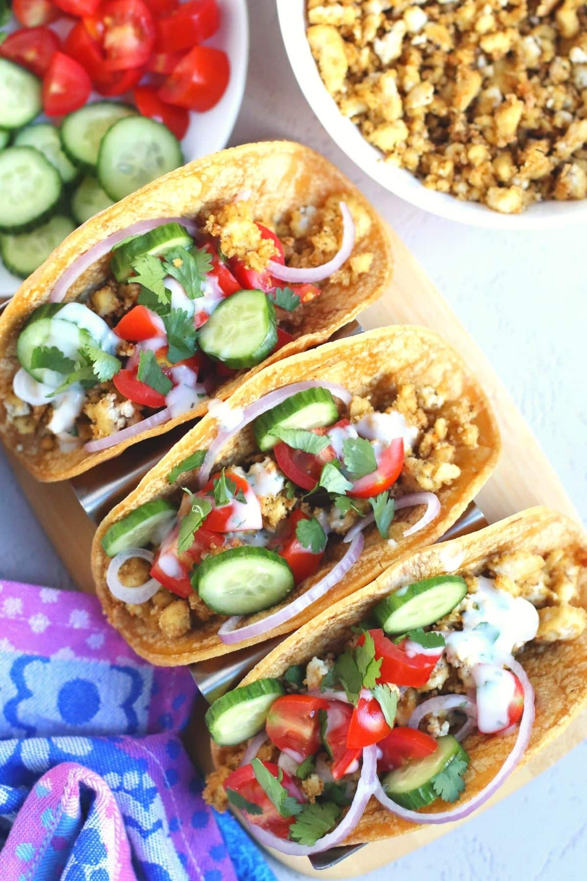 Close up overhead photo of Mediterranean tofu tacos