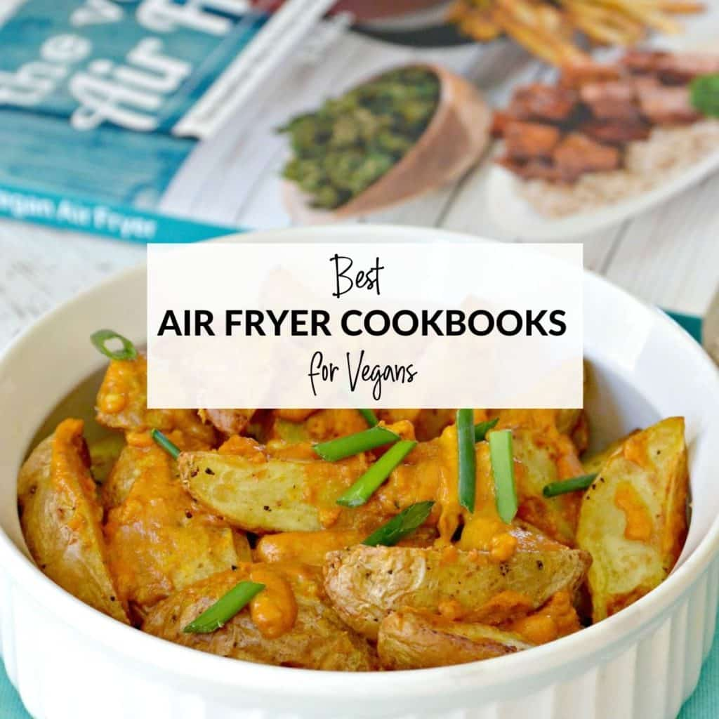 Air fried potato wedges in a bowl with cookbook in the background