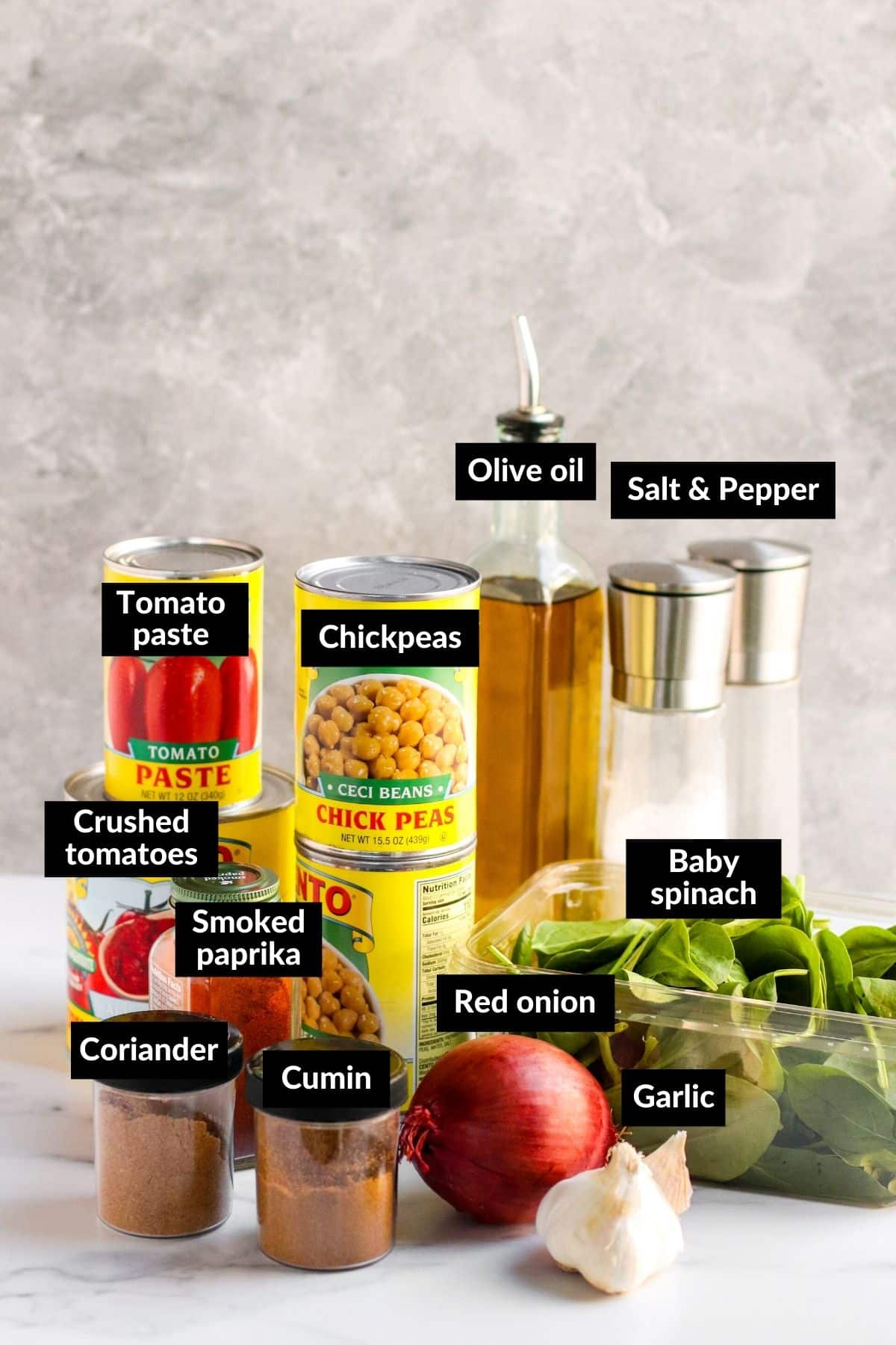 Labeled ingredients for making this recipe
