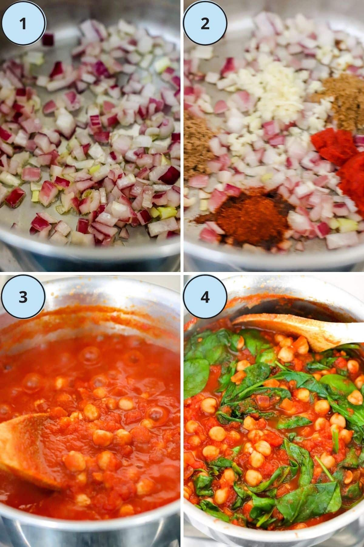 Collage of numbered process shots showing how to prepare this recipe