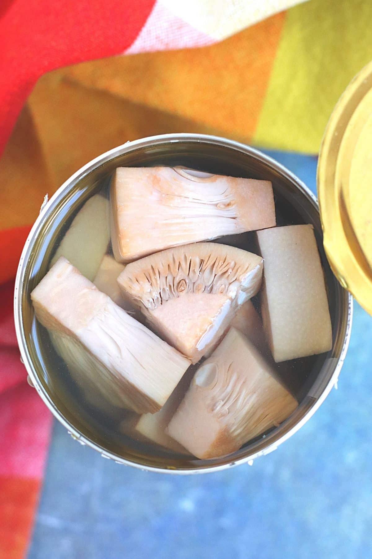 Open can of jackfruit