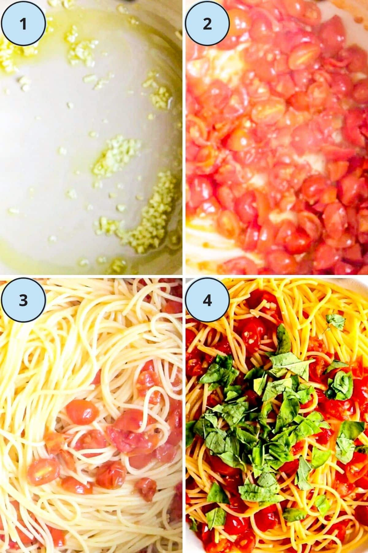 Collage of 4 photos showing the step-by-step instructions for making this recipe