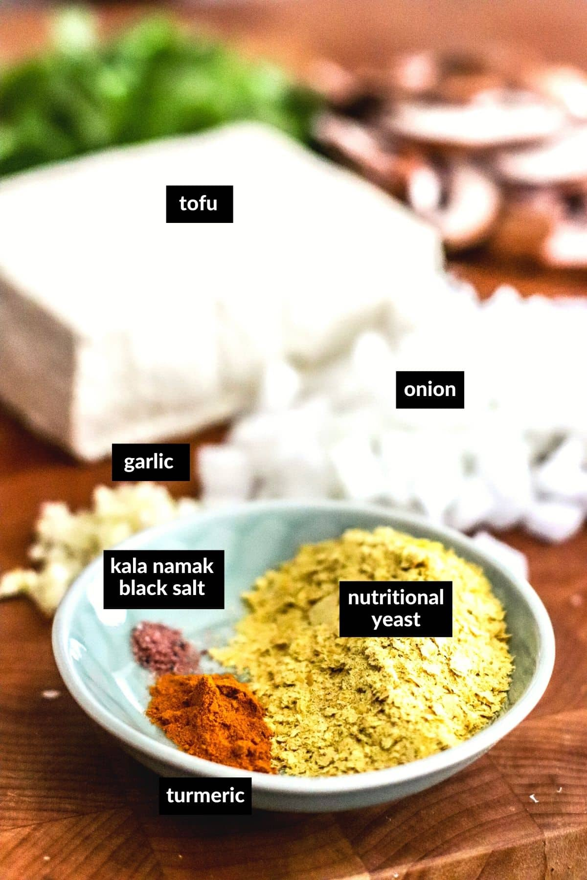 Cutting board with the ingredients needed to make this recipe