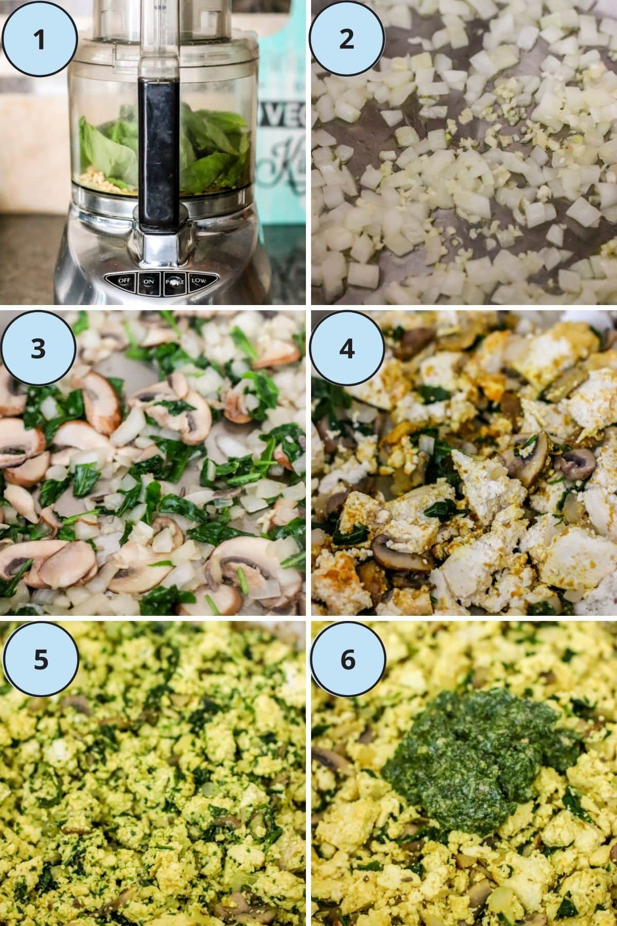 Collage of 6 images showing the steps for making this recipe