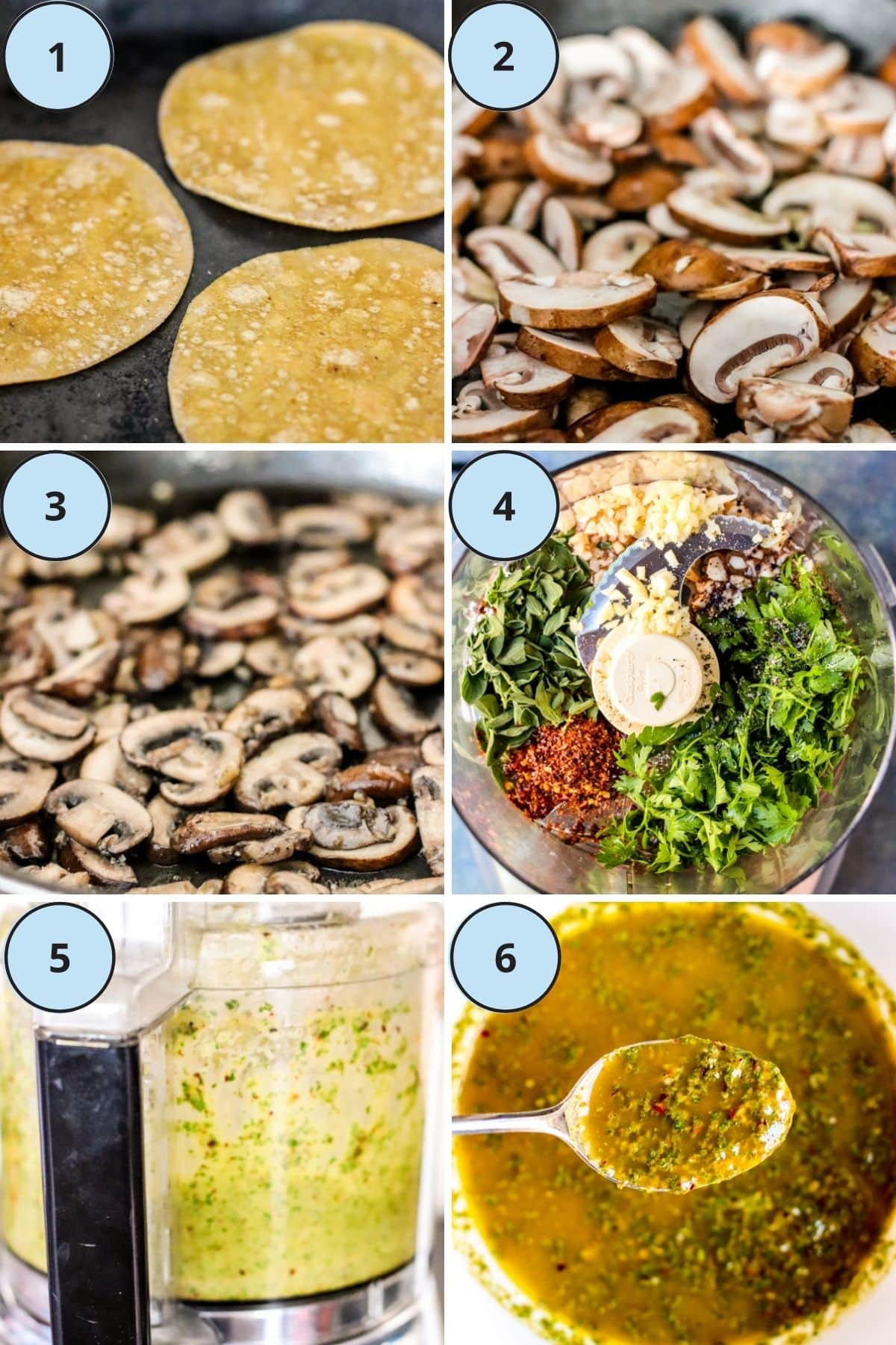 Collage of 6 photos showing the steps to make this recipe