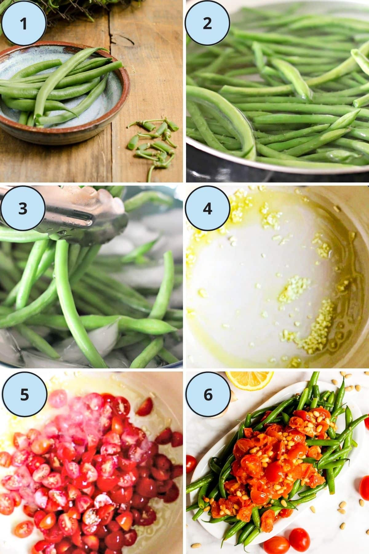 Collage of 6 images showing the steps to make this recipe