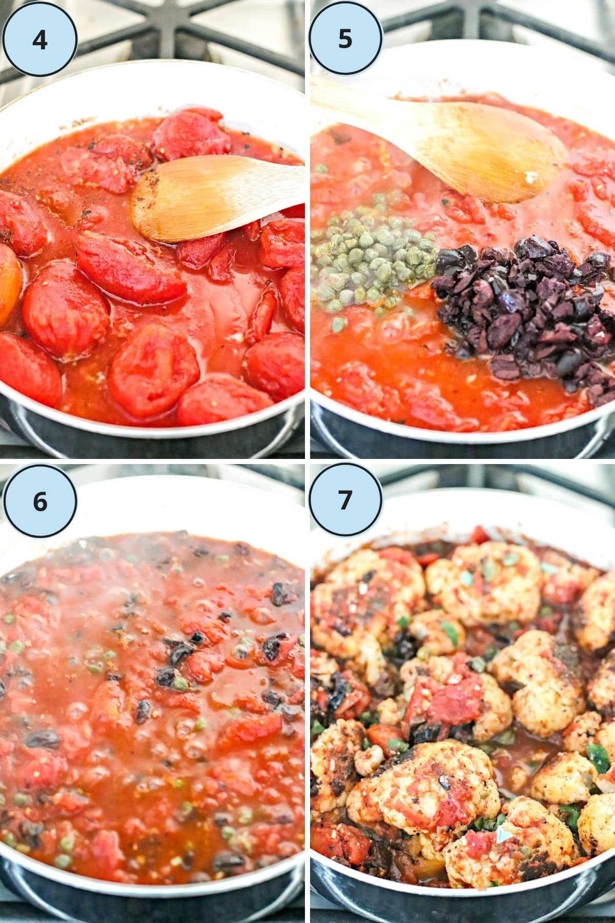 Collage of 4 images showing how to make the vegan Puttanesca sauce and then how to finish the recipe