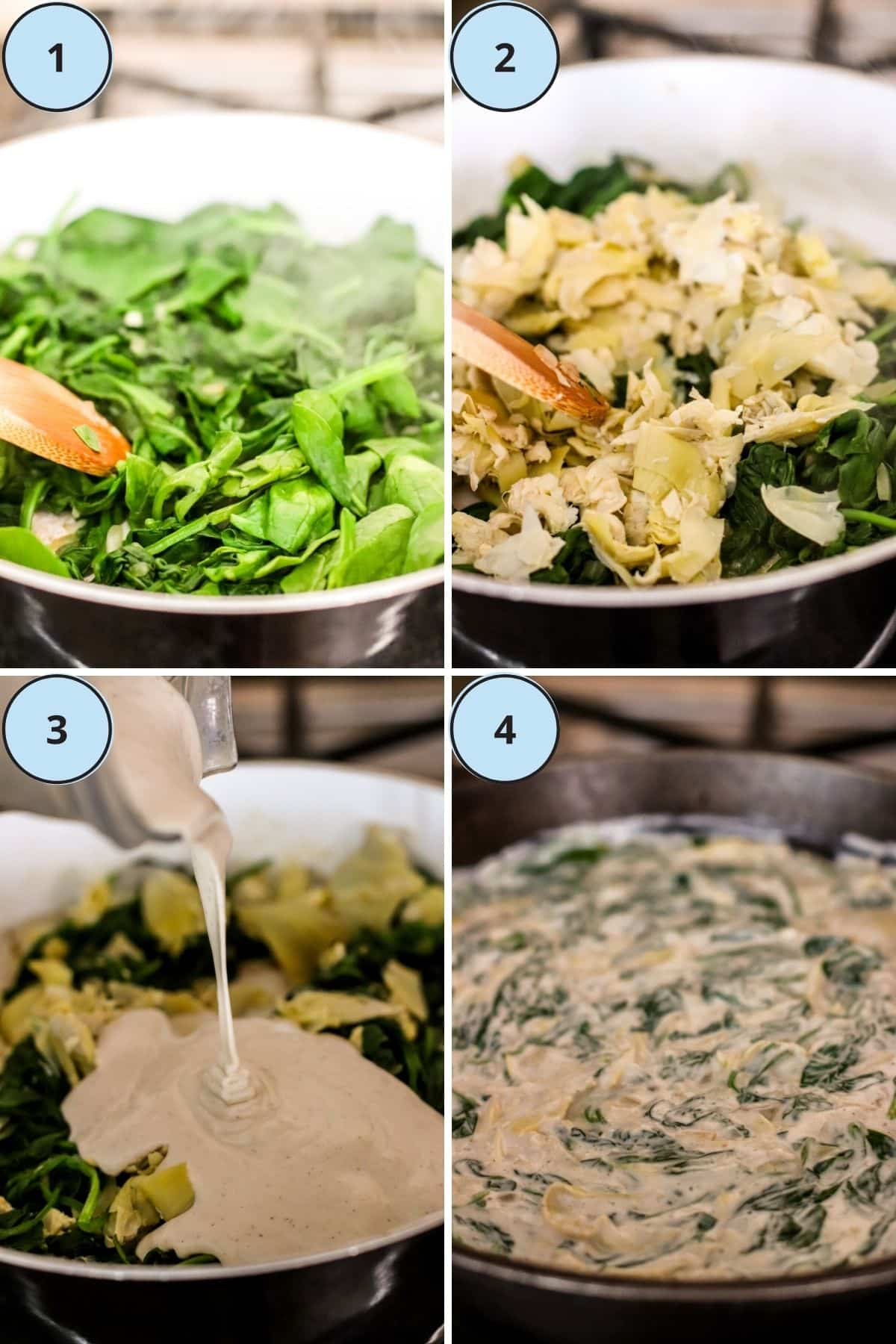 Collage of four images showing how to make this recipe