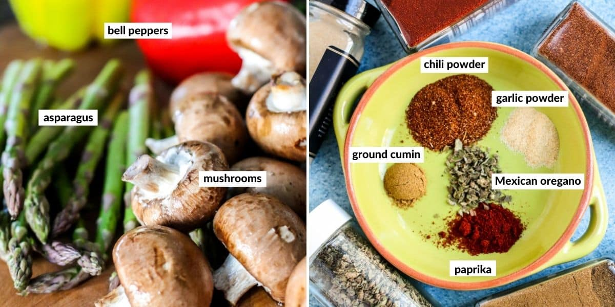 Collage of two images showing the ingredients needed to make this recipe
