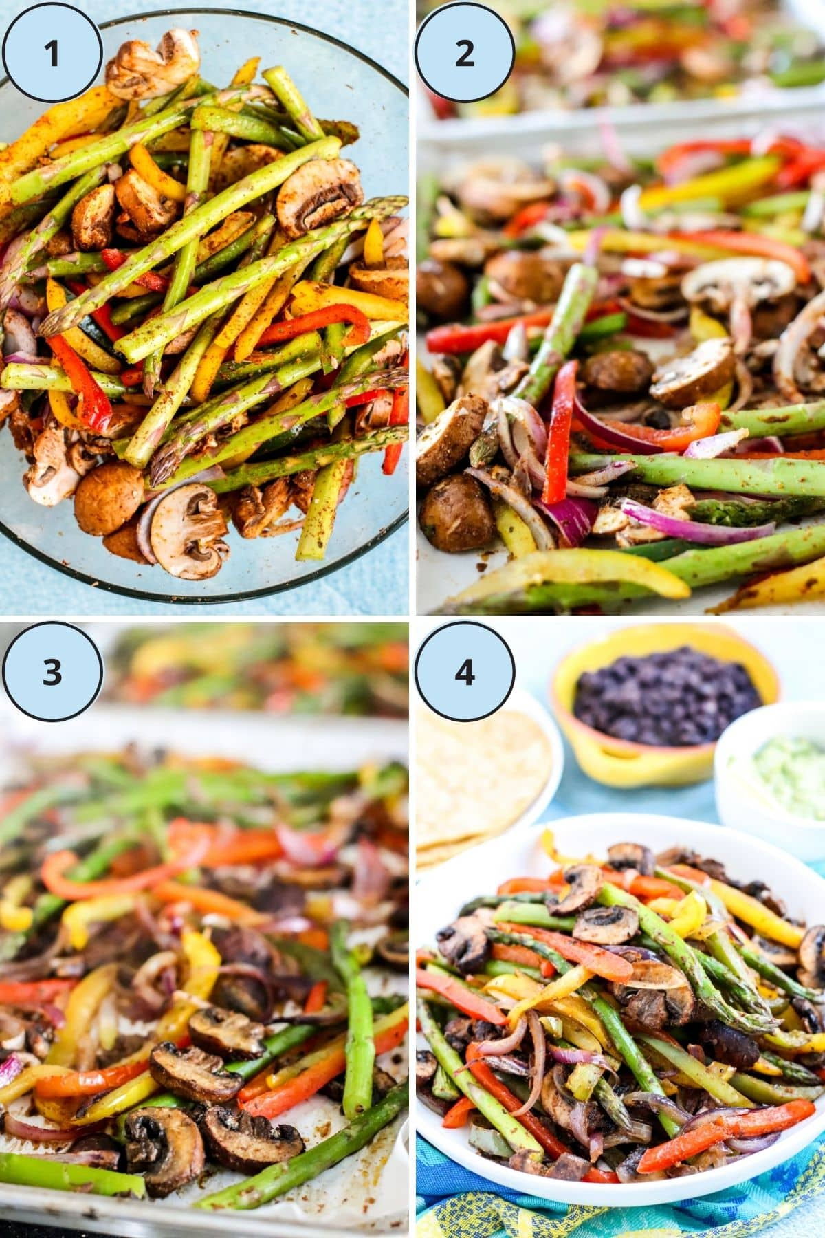 Collage of 4 images showing the step-by-step process for making this recipe