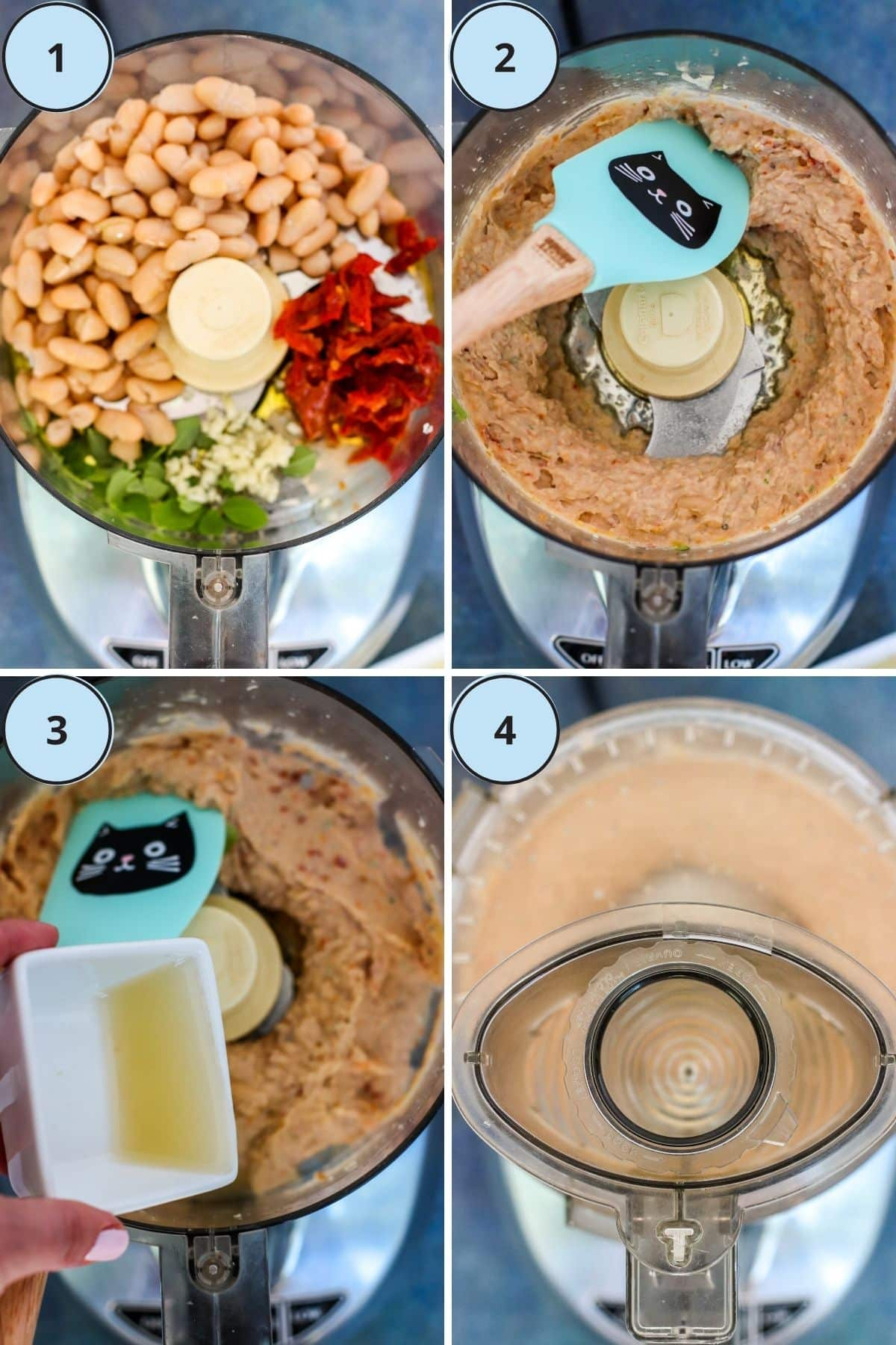 Collage of 4 numbered photos showing the how to make this recipe
